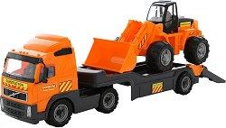 Камион влекач с багер - Volvo - играчка