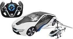 BMW i8 и хеликоптер - Комплект играчки с дистанционно управление -