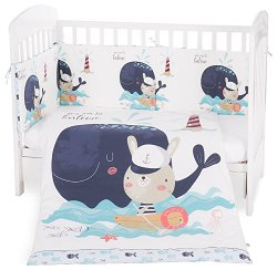 Бебешки спален комплект от 6 части - Happy Sailor - 100% ранфорс за матраци с размери 60 x 120 cm или 70 x 140 cm - продукт
