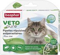 Beaphar Veto Pure Bio Spot On Cat - Репелентни капки за котки - опаковка от 3 пипети x 0.8 ml - лосион