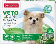 Beaphar Veto Pure Bio Spot On Dog - Репелентни капки за кучета от малки породи - опаковка от 3 пипети x 1 ml -