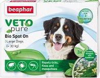 Beaphar Veto Pure Bio Spot On Dog - Репелентни капки за кучета от големи породи - опаковка от 3 пипети x 2 ml - лосион