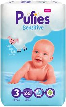 Pufies Sensitive 3 - Midi - Пелени за еднократна употреба за бебета с тегло от 6 до 10 kg - залъгалка