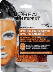 """L'Oreal Men Expert Hydra Energetic Tissue Mask - Хидратираща хартиена маска за мъже от серията """"Men Expert Hydra Energetic"""" -"""