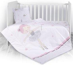 Бебешки спален комплект от 3 части - Ballet Pink - 100% памук за матраци с размери 60 x 120 cm и 70 x 140 cm -