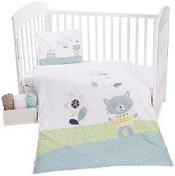Бебешки спален комплект от 5 части - Cat Lovely Day - 100% ранфорс за матраци с размери 60 x 120 cm и 70 x 140 cm - продукт