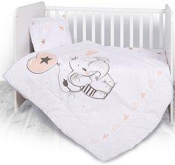 """Бебешки спален комплект от 3 части - Слонче - 100% ранфорс за матраци с размери 60 x 120 cm и 70 x 140 cm от серията """"Антиакари"""" -"""