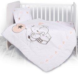 """Бебешки спален комплект от 4 части - Слонче - 100% ранфорс за матраци с размери 60 x 120 cm и 70 x 140 cm от серията """"Антиакари"""" -"""