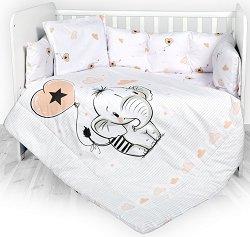 """Бебешки спален комплект от 4 части с обиколник - Lily: Слонче - 100% ранфорс за легло с размери 60 x 120 cm от серията """"Антиакари"""" -"""