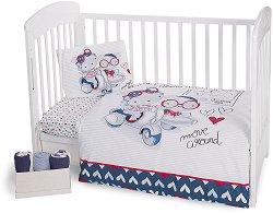 Бебешки спален комплект от 3 части - Love Rome - 100% ранфорс за матраци с размери 60 x 120 cm и 70 x 140 cm -