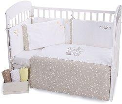 Бебешки спален комплект от 6 части - Little Dreamer - 100% ранфорс за легла с размери 60 x 120 cm или 70 x 140 cm - продукт