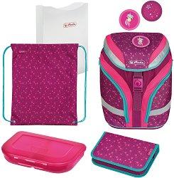 Ученическа раница - Softflex Plus: Unicorn Stars - Комплект със спортна торба, папка, несесер и кутия за храна -