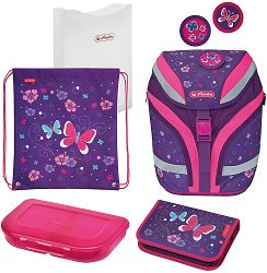 Ученическа раница - Softflex Plus: Butterfly - Комплект със спортна торба, папка, несесер и кутия за храна - раница