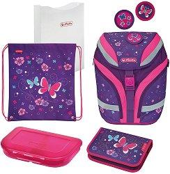 Ученическа раница - Softflex Plus: Butterfly - Комплект със спортна торба, папка, несесер и кутия за храна - несесер