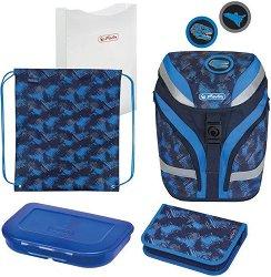 Ученическа раница - Softflex Plus: Dino - Комплект със спортна торба, папка, несесер и кутия за храна -