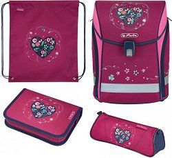 Ученическа раница - Midi Plus: Heart - Комплект със спортна торба и 2 несесера -