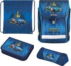 Ученическа раница - Midi Plus: Race Car - Комплект със спортна торба и 2 несесера -