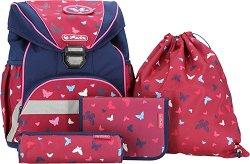 Ученическа раница - Ultralight Plus: Butterfly - Комплект с 2 несесера и спортна торба - несесер