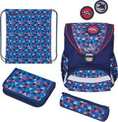 Ученическа раница - Ultralight Plus: Geometric - Комплект с 2 несесера и спортна торба -
