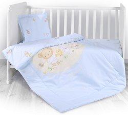 Бебешки спален комплект от 4 части с олекотена завивка - Bear Party - 100% хасе за матраци с размери 60 x 120 cm и 70 x 140 cm -