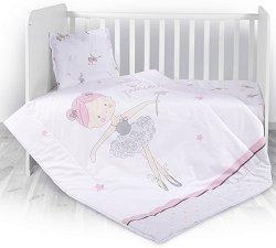 Бебешки спален комплект от 4 части с олекотена завивка - Ballet - 100% хасе за матраци с размери 60 x 120 cm и 70 x 140 cm -