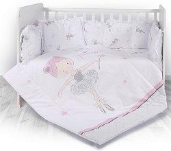 Бебешки спален комплект от 4 части с обиколник - Lily: Ballet - 100% ранфорс за легло с размери 60 x 120 cm -