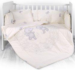 Бебешки спален комплект от 4 части с обиколник - Lily: Happy Hippo - 100% ранфорс за легло с размери 60 x 120 cm -