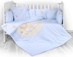 Бебешки спален комплект от 4 части с обиколник - Lily: Bear Party - 100% ранфорс за легло с размери 60 x 120 cm -