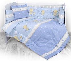Бебешки спален комплект от 4 части с обиколник - Lily: Little Ducks - 100% ранфорс за легло с размери 60 x 120 cm -