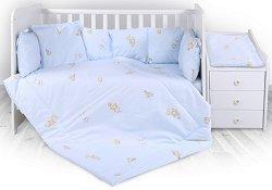 Бебешки спален комплект от 5 части - Trend: Bear Party Blue - 100% ранфорс за легло с размери 62 x 110 cm -