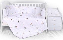 Бебешки спален комплект от 5 части - Trend: Bear Beige - 100% ранфорс за легло с размери 62 x 110 cm -