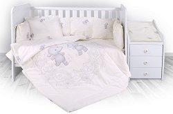 Бебешки спален комплект от 5 части - Trend: Happy Hippo - 100% ранфорс за легло с размери 62 x 110 cm -