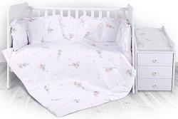 Бебешки спален комплект от 5 части - Trend: Ballet Pink - 100% ранфорс за легло с размери 62 x 110 cm -