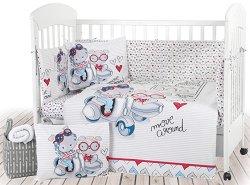 Бебешки спален комплект от 6 части - Love Rome - 100% ранфорс за легла с размери 60 x 120 cm или 70 x 140 cm -