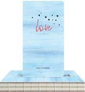 """Скицник с твърди корици - Сърцa в небето - С размери 9.4 x 17.2 cm от серията """"Love is in the air"""""""