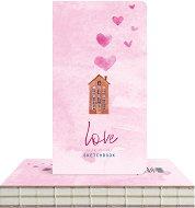 """Скицник за рисуване - Къща и сърца - С размери 9.4 x 17.2 cm от серията """"Love is in the air"""""""