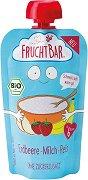 Fruchtbar - Био пюре с ориз, ябълки, ягоди, банани и мляко - Опаковка от 120 g за бебета над 6 месеца -