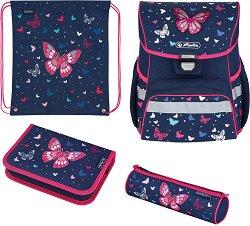 Ученическа раница - Loop Plus: Butterflies - Комплект с 2 несесера и спортна торба - несесер