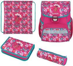 Ученическа раница - Loop Plus: Indian Summer - Комплект с 2 несесера и спортна торба - раница