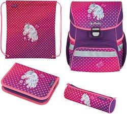 Ученическа раница - Loop Plus: Horse - Комплект с 2 несесера и спортна торба -
