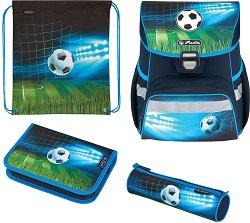 Ученическа раница - Loop Plus: Soccer - Комплект с 2 несесера и спортна торба -