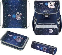 Ученическа раница - Loop Plus: Space - Комплект с 2 несесера и спортна торба - несесер