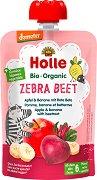 Holle - Био забавна плодова закуска с ябълки, банани и цвекло - Опаковка от 100 g за бебета над 6 месеца -