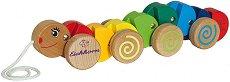 Гъсеничка - Детска дървена играчка за дърпане -