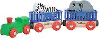 Влакче с животни - Дървена играчка -