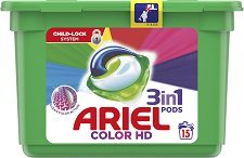 Капсули за цветно пране - Ariel 3 in 1 Pods Color HD - сапун