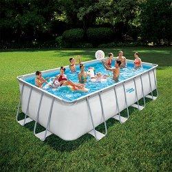 Правоъгълен сглобяем басейн - Summer Waves Elite Frame - Комплект с филтърна помпа, стълба и аксесоари -