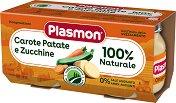 Plasmon - Пюре от моркови с картофи и тиквички - Опаковка от 2 х 80 g за бебета над 4 месеца -