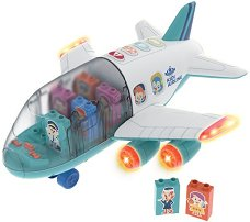 Самолет с конструктор - Детски сглобяем комплект за игра със светлинни и звукови ефекти - играчка