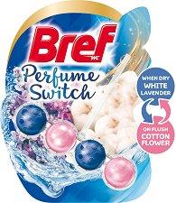 Тоалетно блокче - Bref Perfume Switch - Със сменящ се аромат на лавандула и памук - опаковка от 1 брой x 50 g -